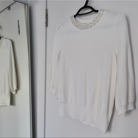 H&M - White Knit with Beaded Neckline - M